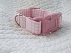 Shabby Chic Pink Gingham Check  Dog Collar or by graciespawprints, $10.00