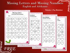 Worksheets for Valentine's Day (or any other day). 2 x English and 2 x Afrikaans worksheets. Afrikaans Language, 1st Grade Worksheets, Letters And Numbers, School Projects, Teaching Resources, Valentines, Teacher, Maths, Day