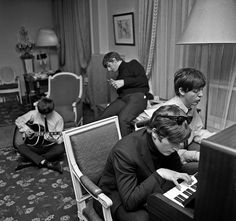 The Beatles Composing, George V Hotel, Paris 1964, by Harry Benson