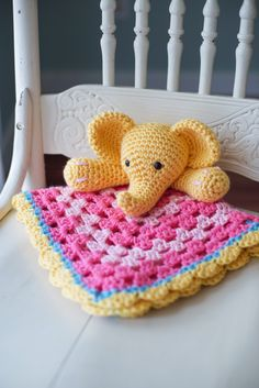 Yellow & Pink Elephant Crochet Security Blanket Available on Etsy