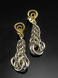 Persian Link Chainmail earrings Sterling Silver by CavanaDesign, $200.00