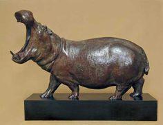 Bronze Endangered Animal Species sculpture by artist NICK BIBBY titled: 'HIPPO (bronze hippopotamus statuette)' #sculpture #art