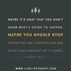 Maybe it's okay that you don't know what's going to happen. Maybe you should stop predicting and controlling and enjoy each moment as it comes. - Mandy Hale