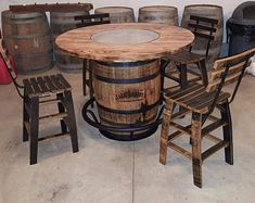Jack Daniels Whiskey Barrel Table With 4 Stave Chairs And inside Whiskey Barrel Furniture 30903 Wine Barrel Bar Table, Whiskey Barrel Table, Whiskey Barrel Furniture, Whiskey Barrels, Bourbon Barrel, Jack Daniels Barrel, Baril Jack Daniels, Table Baril, Barris