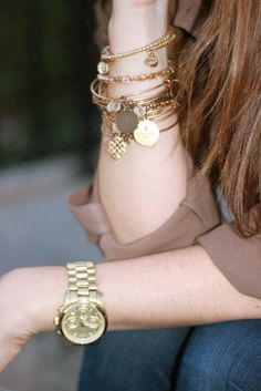 Stacked gold bangles and bracelets Gold Bangles, Gold Jewelry, Jewelry Box, Jewelery, Jewelry Accessories, Fashion Accessories, Jewelry Design, The Bling Ring, Alex And Ani Bracelets