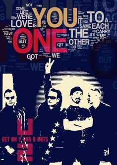 U2 Music Poster fine art print ONE - U2. Poster with dark blue background and lyric typography - rock band wall decor with fantastic details on 