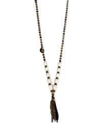 Lady Lulu Pearl Shikoba Beaded Necklace - Pearl