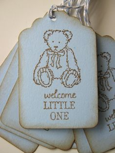 Blue Teddy Bear Baby Shower Gift Tags by CharonelDesigns on Etsy