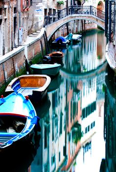 Boat Reflections in Venice, Italy
