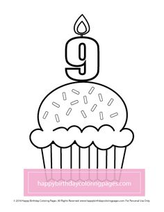 FREE Cupcake Coloring Page – Happy Birthday Coloring Pages Cupcake Coloring Pages, Happy Birthday Coloring Pages, Cupcakes, Printables, Free, Cupcake, Print Templates, Cupcake Cakes, Brioche