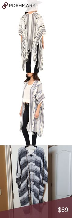 "Steve Madden Bohemian Kimono🌹NWOT! 🌹Beautiful black and white kimono by Steve MADDEN.🌹 NWOT! NEVER WORN! Length is 45"" long.🌹 Size Osfm. Materials 72% cotton, 28% polyester.  🌹Super cute with your favorite jeans with booties! Picture one and two are used for modeling and fitting purposes only, color or item may vary just slightly thank you.😊👍 Steve Madden Other"