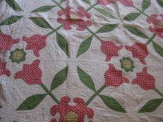 Vintage Handmade Cotton Red Applique Tulips On White Cotton Quilt Primitive