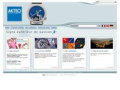 Site vitrine des montres AKTEO. Administration sur-mesure des actualités et des produits. www.akteo.fr