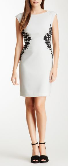 Applique Cap Sleeve Dress. love the lace applique that give the impression of a skinnier waist.