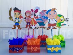 Jake and the Neverland Pirates birthda party wood guest table centerpiece decoration Jake Izzy Cubby Skully Mr. Smee Captain Hook ONLY 1 Twin Birthday, Pirate Birthday, 4th Birthday, Birthday Ideas, Sheila E, Amazing Race Party, Pirate Party Decorations, 6th Birthday Parties, Baby Party