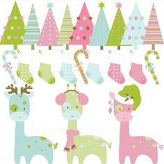 Christmas Clipart Elements -  Giraffe,Trees and Socks digital clipart for cards, photography, scrapbooking, invites, general craft work. $5.00, via Etsy.