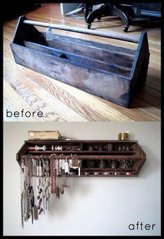 Old tool box to wall mounted jewelry display.