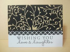 Wishing you love & laughter by Mandycard, via Flickr  cool way to use madera corner