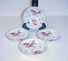 Chinese Porcelain Dipping Bowls Dragons Set 4