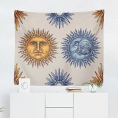 Searching for a Sun and Moon Tapestry? Shop for high quality Wall Tapestries designed by independent artists on W. Sun And Moon Tapestry, Wall Tapestry, Shower Door Hardware, Cool Tapestries, Bathroom Color Schemes, Tapestry Design, Amazing Gardens, A Team, Vivid Colors