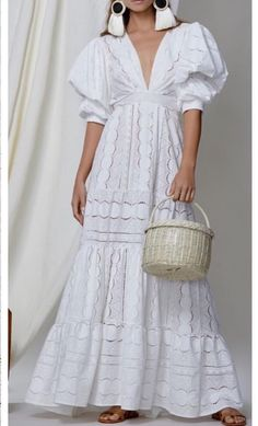 V Neck Puff Sleeve Fitted White Maxi Dress Nevan/Fits S - XL frames (available in white) . Cute Maxi Dress, White Maxi Dresses, Maxi Dress With Sleeves, Boho Dress, White Dress, Short Sleeve Dresses, Summer Dresses, White Lace, Lace Dresses