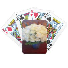 White Roses in a Blue Vase bicycle playing cards. Marsala color background #Marsalared