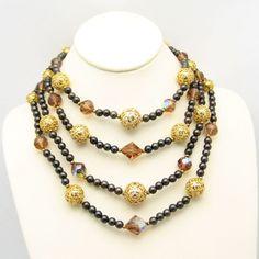 Mid Century 4 Multi Strand Swarovski Topaz Crystal Beads Necklace Glass Vintage Chunky #MyClassicJewelry