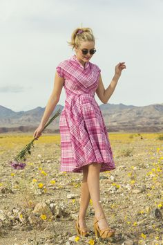 Share your Shabby!  Buttercup Stretch Poplin Plaid Fit And Flare Dress Pink $98