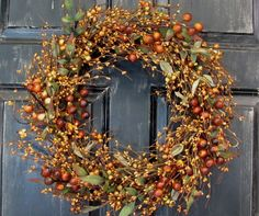 Fall Wreath  Fall Pip Berry Wreath   Primitive by Designawreath, $56.95