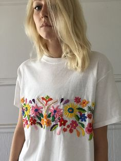 Original embroidery design on cropped white tee Size large, Multi colored floral