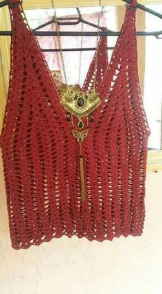 *** Crochet by anastasia Crochet Tank Tops, Crochet T Shirts, Crochet Summer Tops, Crochet Fabric, Crochet Tunic, Crochet Collar, Crochet Jacket, Crochet Clothes, Tricot