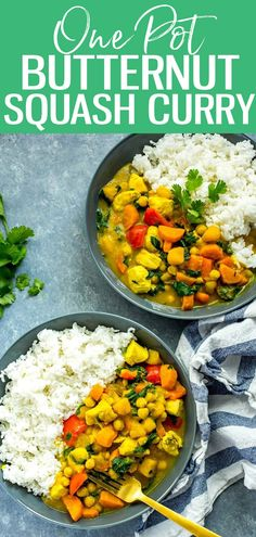 ThisOne Pot Butternut Squash Chicken Curry with coconut milk & chickpeas is a protein-filled heartwarming fall meal that comes together in under 40 minutes! Good Healthy Recipes, Great Recipes, Whole Food Recipes, Cooking Recipes, Thai Recipes, Indian Recipes, Chicken Curry, Chicken And Butternut Squash, One Pot Dinners