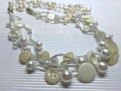 Vintage White Button Necklace by BornAgainButtons on Etsy
