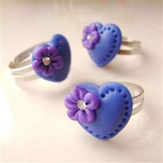 Wholesale HaHaXiu Lovely Rhinestone Flower Decoration Heart Polymer Clay Rings - DinoDirect.com