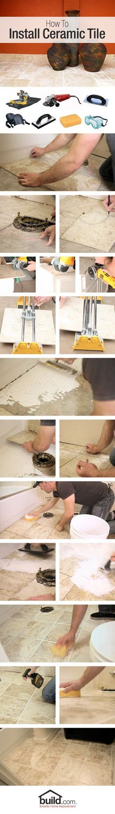 Revamp your floor: learn how to install ceramic tile. We'll get you from inspiration to installation with these step by step flooring instructions. DIY floor #smarterhomeimprovement