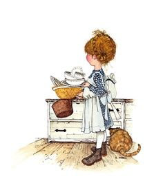 Holly Hobbie ~ always tidy the kitchen after dinner...to enjoy a morning smile~