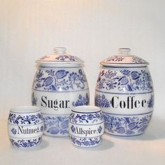 Four Piece German Blue Onion Kitchen Canisters