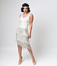Unique Vintage White Beaded Gigi Chiffon Fringe Flapper Dress
