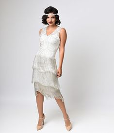 Unique Vintage White Beaded Gigi Chiffon Fringe Flapper Dress