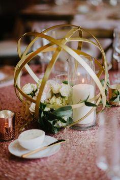 Geometric gold sphere centerpiece / http://www.deerpearlflowers.com/modern-himmeli-geometric-wedding-details/