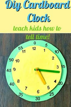 How to make a cardboard clock to help kids learn how to tell time. This fun craft will teach kids how to read an analog clock. #diyclock #cardboardclock #analogclock #carboardcrafts #kidscrafts #papercrafts #diycrafts #schoolcrafts #cardboardcrafts #homeschool #homeschoolcrafts #howtomakeaclock