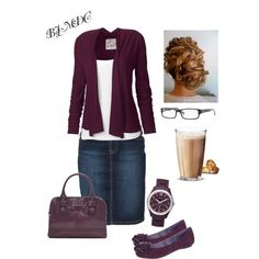 Cute, casual & modest- love the plum colour & denim is always a favourite.