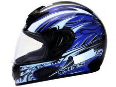 Capacete com Viseira Tamanho 58 - Mixs MX Cobra Plus Preto com Azul