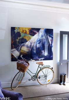 When your bicycle is this pretty, leaving it in the living room entrance is a necessity, not an issue.  From 'Grand Vision', a story on page 150 of Vogue Living March/April 2012.  Photograph by Petrina Tinslay.