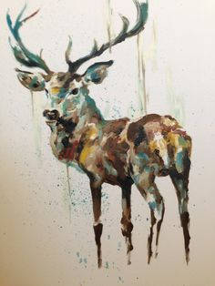 Stag Oil Painting - Natural tones with a blue hue, proud stag with texture.