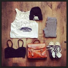 Brandy melville outfit-striped pants,nude bag,white crop top,black badeu,grey converse,black beanie