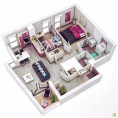 Concept 3D floor plans in different layout for one storey and 2 story house ideas. Complete with materials for floors and walls, furnitures. Sims 4 House Plans, Dream House Plans, Small House Plans, House Floor Plans, Sims 4 Houses Layout, House Layout Plans, House Layouts, Apartment Furniture Layout, Apartment Layout
