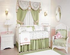 Fairy Land Crib Bedding Collection by Sterling Anabella Crib Sets, Crib Bedding Sets, Green Bedding, Baby Bedding, Childrens Beds, Childrens Room Decor, Pink And Green Nursery, Nursery Room, Nursery Ideas