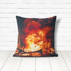 Bonfire pillow cover with amazing high quality printed colors. This cushion is perfect for a farmhouse or for winter, fall, or camping decor. #pillow #throwpillow #pillows #pillowcover #homedecor #interiors #interiordesign #photopillow #camping #campfire