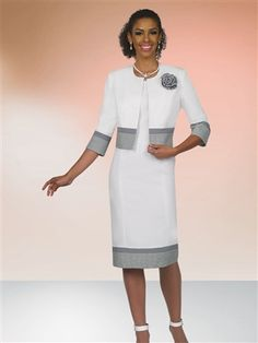 11372 Gingham Trim Jacket Dress – All Dressed Up, Crestview Church Attire, Church Dresses, Church Outfits, Elegant Dresses, Pretty Dresses, Dresses For Work, Women Church Suits, Suits For Women, Jacket Dress